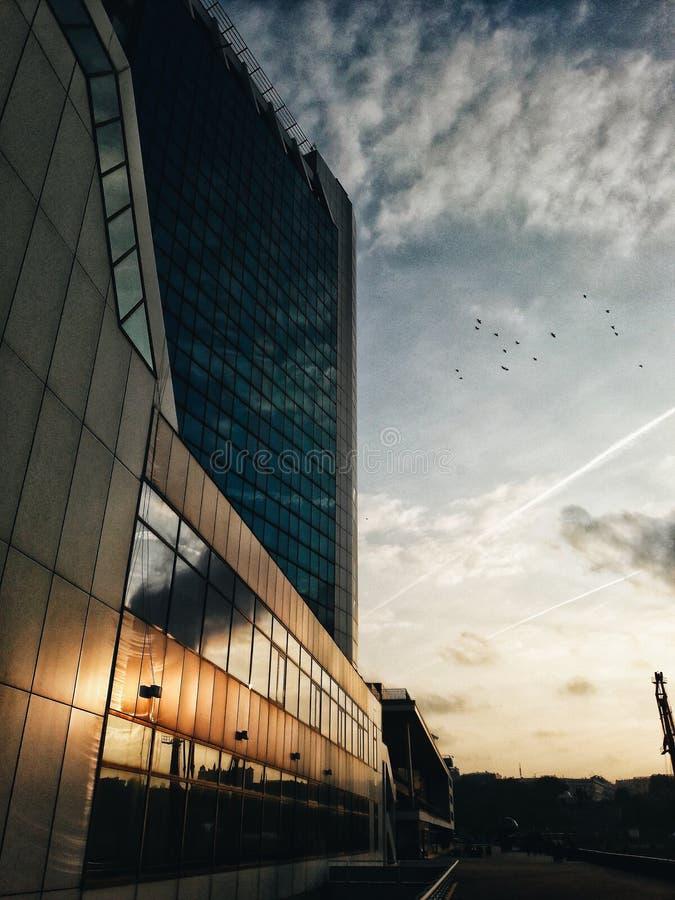 Solnedgång på terminalen för hav för Odessa ` s arkivbilder