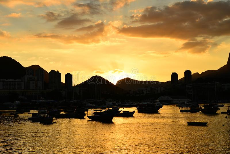 Solnedgång på Urca, Rio de Janeiro arkivfoton