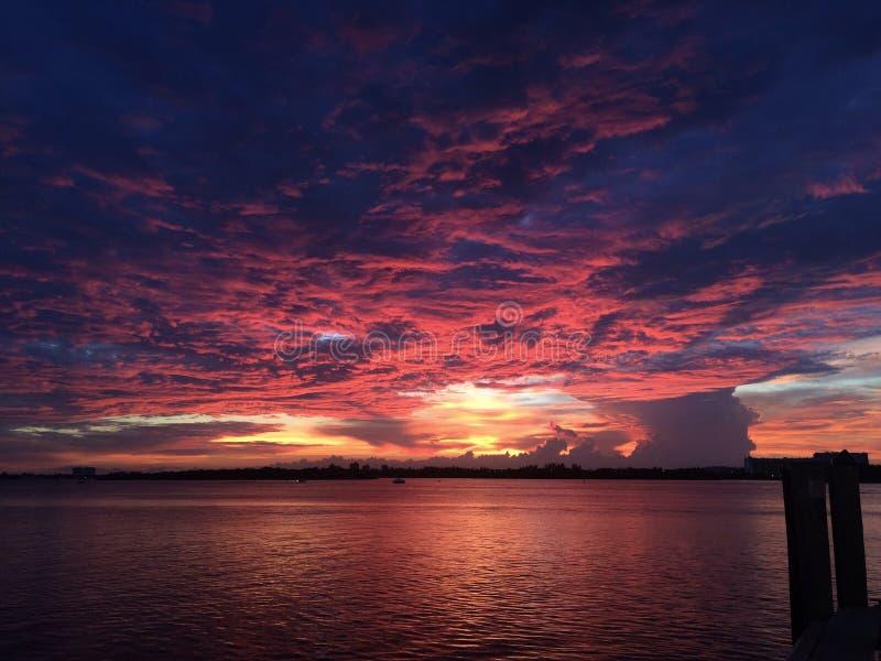 Solnedgång på vatten arkivfoto