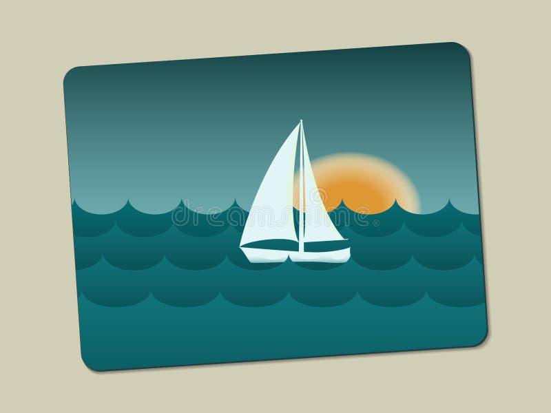 Solnedgång, segelbåt och hav med vågor vektor illustrationer