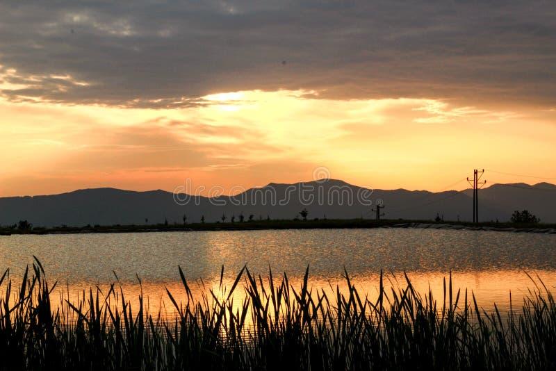Solnedgång sjö någonstans i Slovakien royaltyfri foto