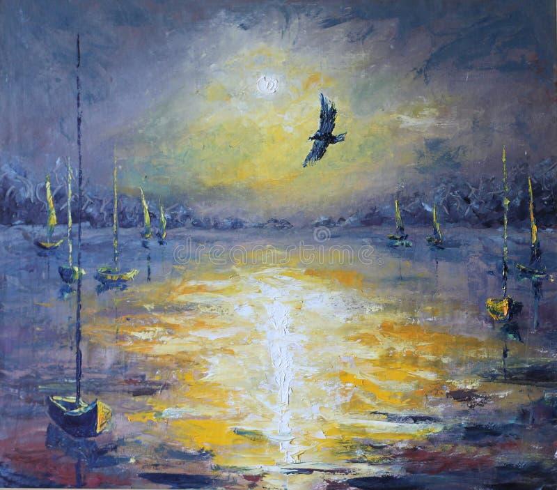 Solnedgång soluppgång över sjön, fiskebåtar, natt, olje- målning stock illustrationer