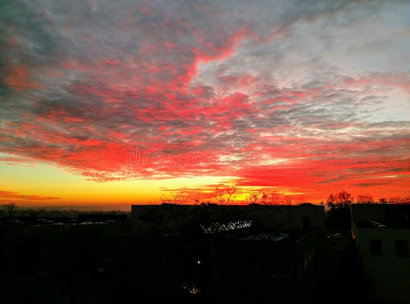 Solnedgång Stuttgart arkivbild
