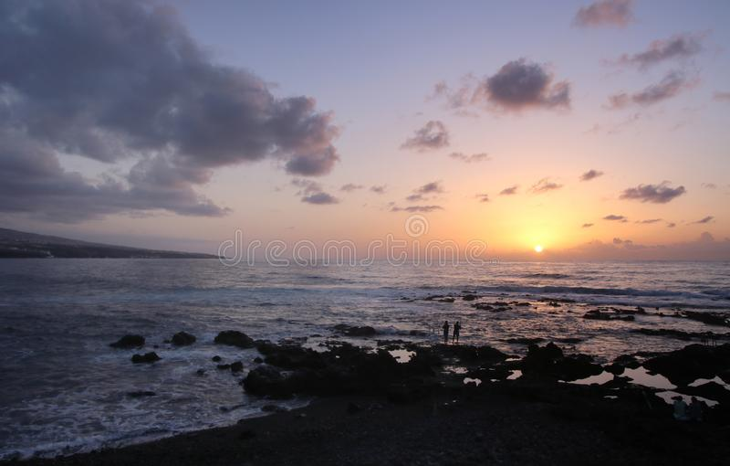 solnedgång tenerife kanariefågelöar tenerife arkivbild
