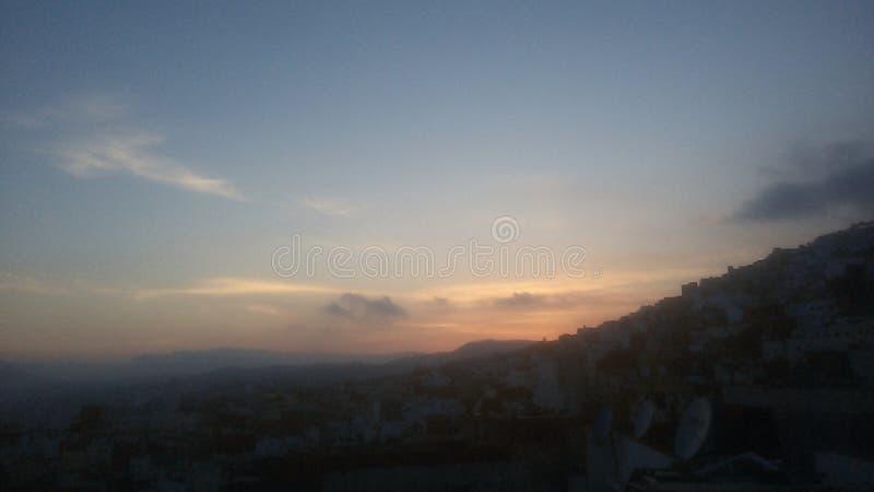 Solnedgång 1 Tetouan Marocko arkivfoto