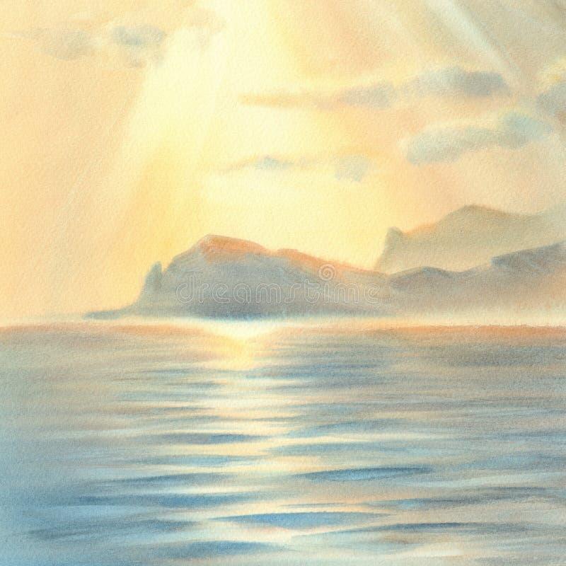 Solnedgång under havsvattenfärgen vektor illustrationer