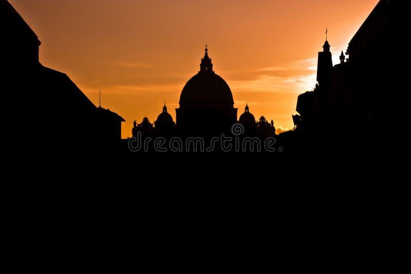 solnedgång vatican royaltyfri fotografi