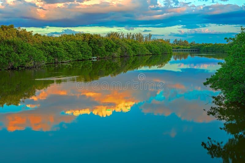Solnedgång vid bågskytts strand Florida fotografering för bildbyråer