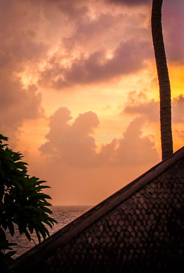 Solnedgång vid hav royaltyfri foto