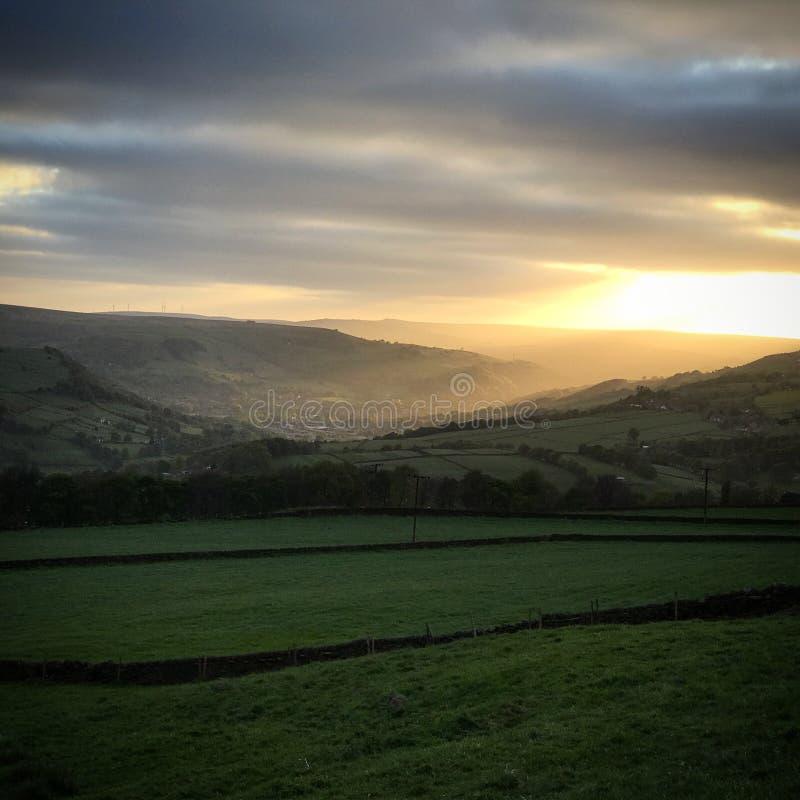 Solnedgång Yorkshire arkivbild