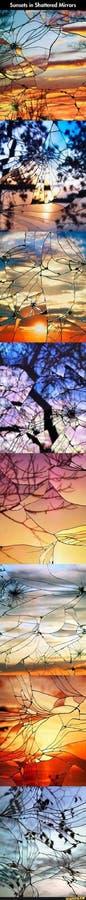 solnedgångar i splittrat exponeringsglas royaltyfri fotografi