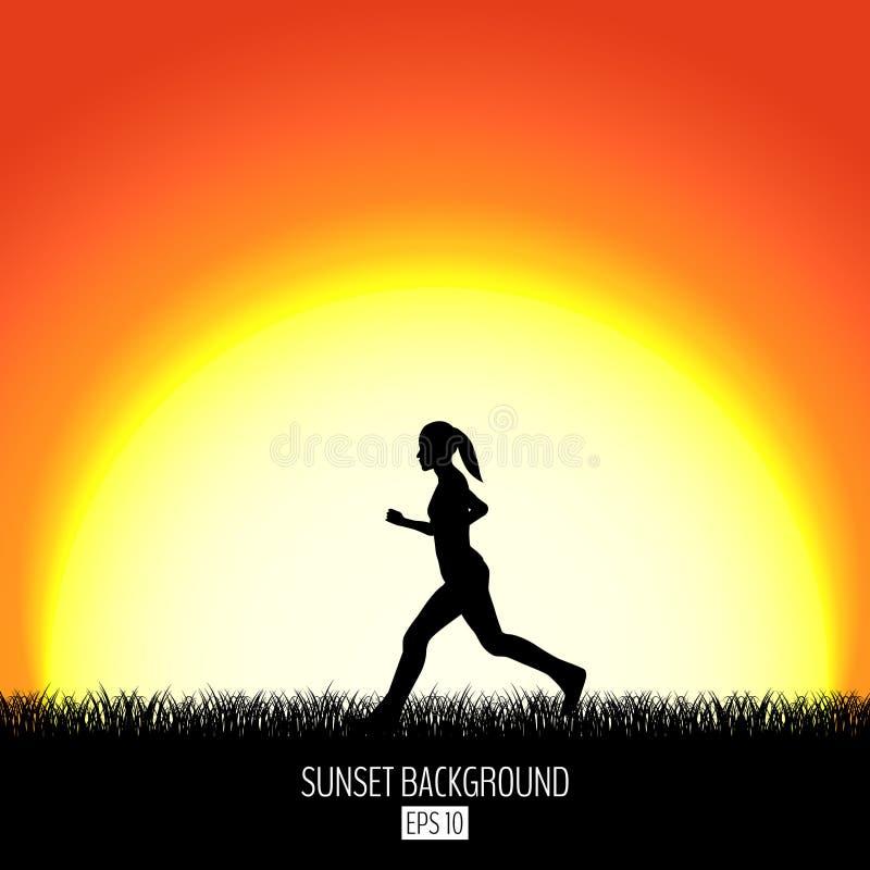 Solnedgångbakgrund med den rinnande kvinnasvartkonturn Brinnande soluppsättningar över horisonten Afton som gryr bakgrund stock illustrationer