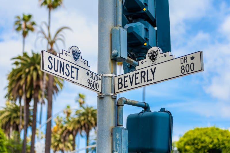 Solnedgångboulevard och Beverly Drive Street Signs i Beverly Hills California fotografering för bildbyråer