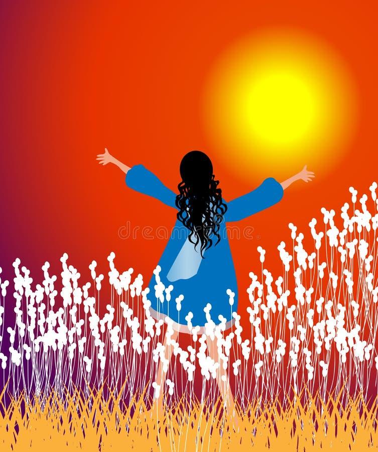 Solnedgångdyrkan vektor illustrationer