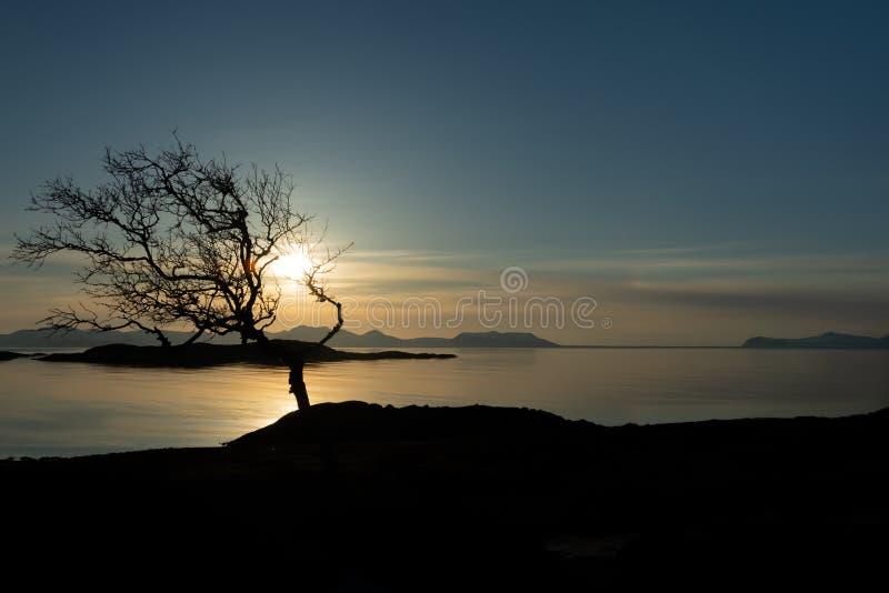 Solnedgången över stillhet lofoten skärgården royaltyfri fotografi