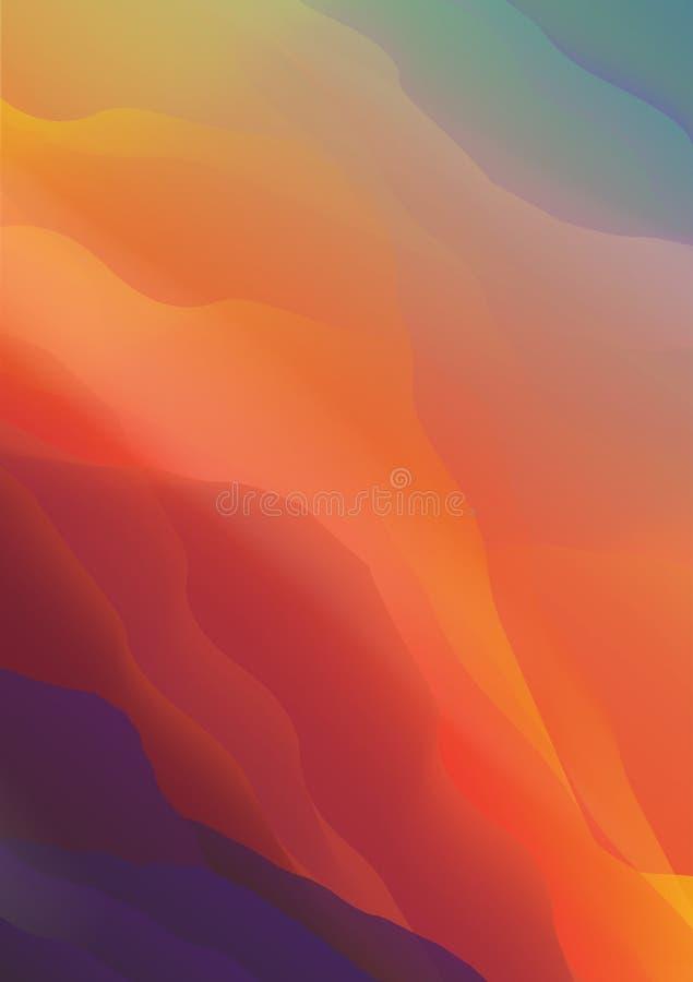 Solnedgången eller Dawn Over bergen landskap - vektorillustrationen stock illustrationer