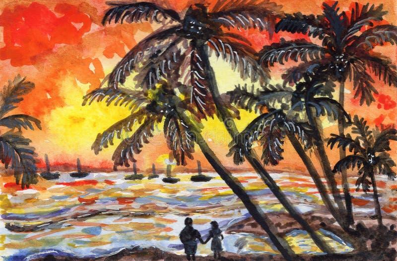 Solnedgången gömma i handflatan illustrationen för vattenfärgen för semestern för havhavet den orange gula svarta stock illustrationer