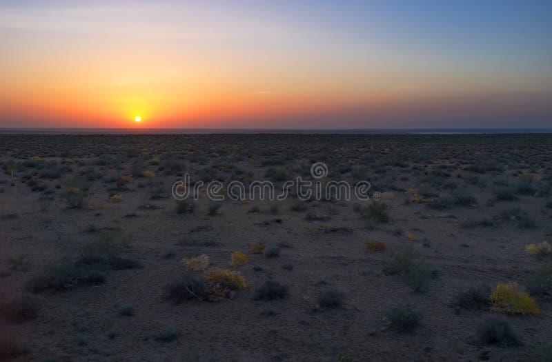 Solnedgången i öken royaltyfri bild