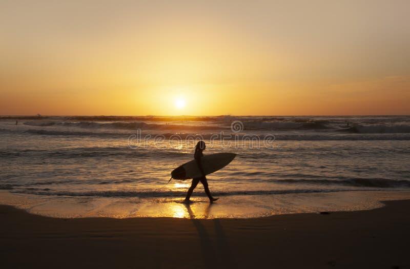Solnedgången på havskusten är ideal för att surfa för afton fotografering för bildbyråer