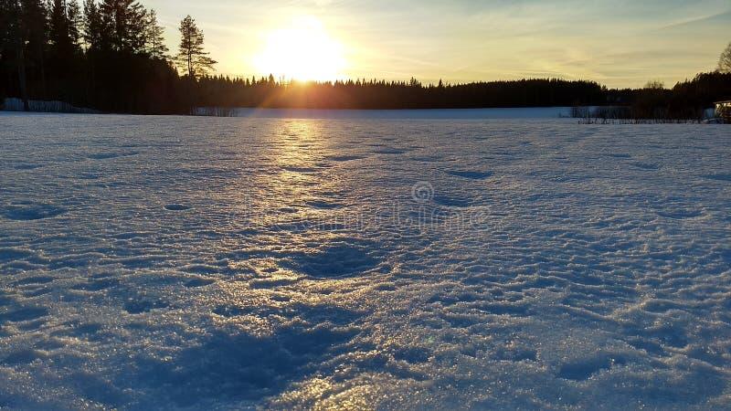 Solnedgången på vintertid i bygd arkivbild