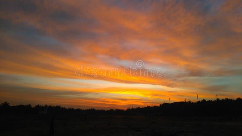 Solnedgångfärg arkivfoto