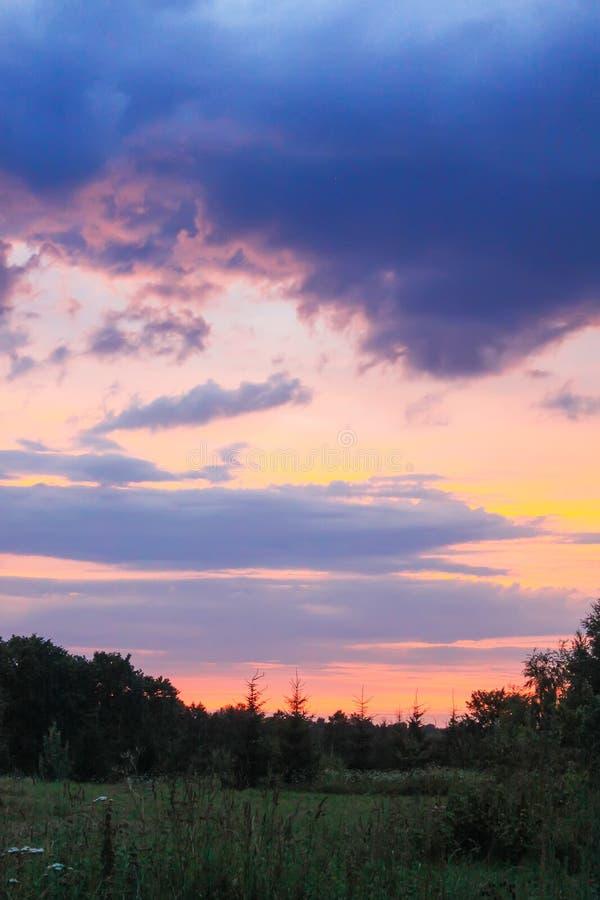 Solnedgånghimmelbakgrund royaltyfri bild