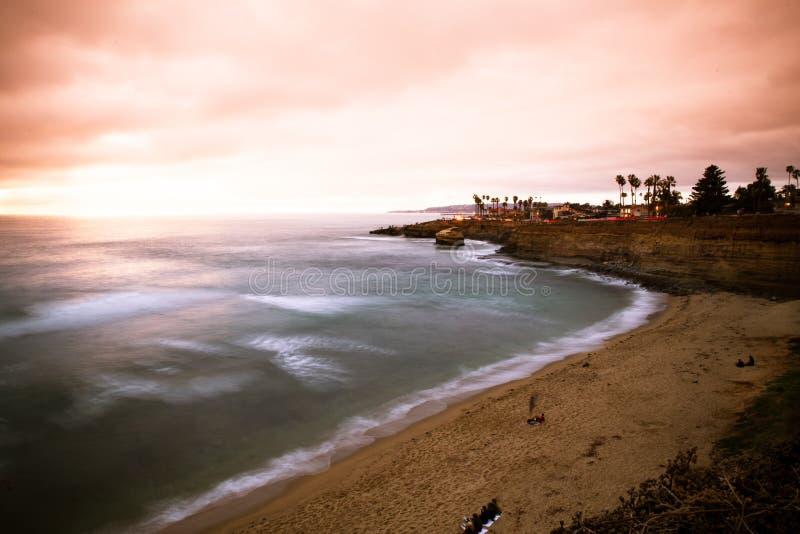 Solnedgångklippor San Diego California arkivbilder
