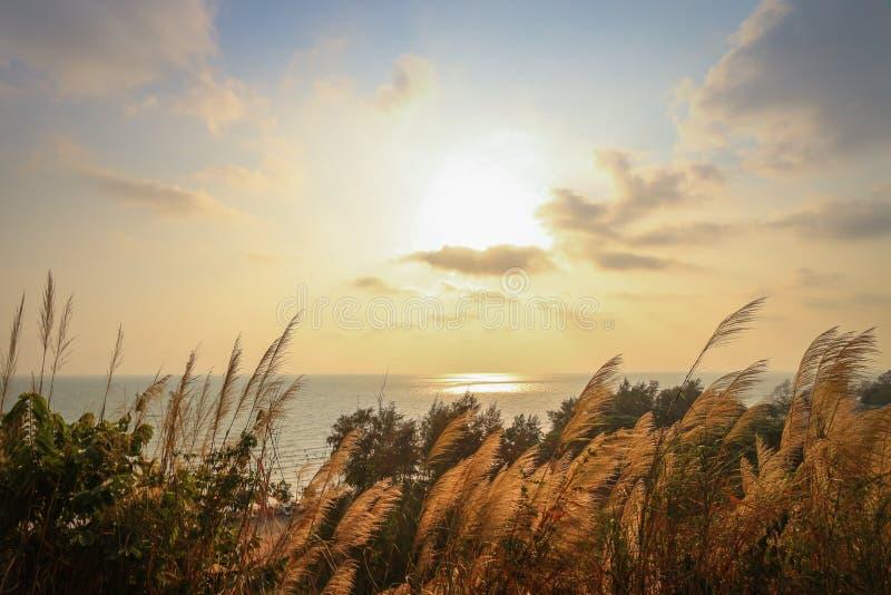 Solnedgånglandskap över berg- och havbakgrunden fotografering för bildbyråer