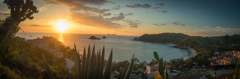 Solnedgånglandskap, Guanacaste landskap, Costa Rica arkivfoto