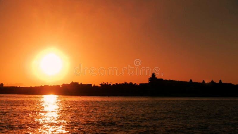 SolnedgångMakadi fjärd Hurghada Egypten arkivbild
