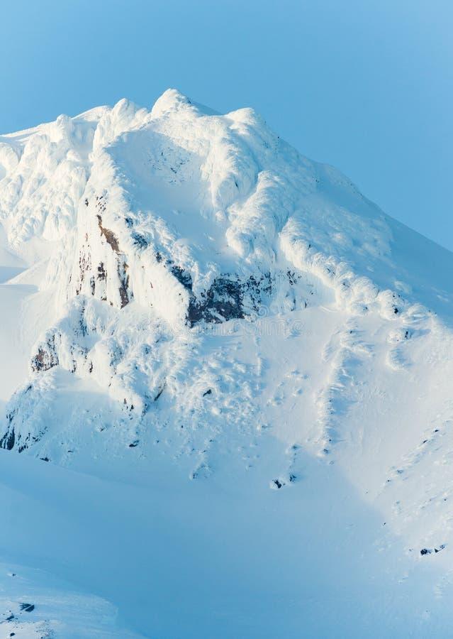 SolnedgångmonteringsHood Cascade Range Ski Resort område royaltyfria foton