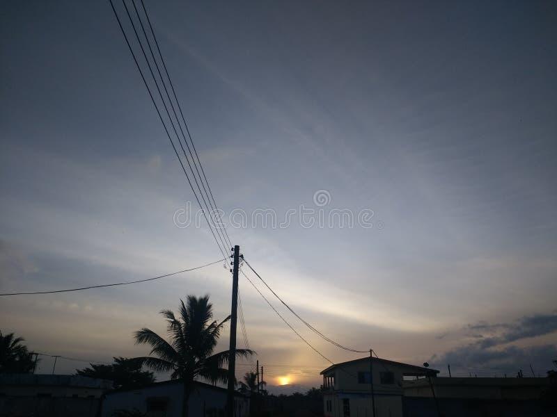 Solnedgångmorgon arkivfoton