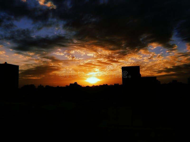 Solnedgångnatt royaltyfria foton