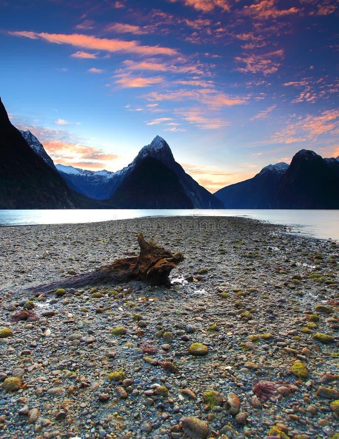 Solnedgångsikt på Milford Sound, Nya Zeeland arkivfoton