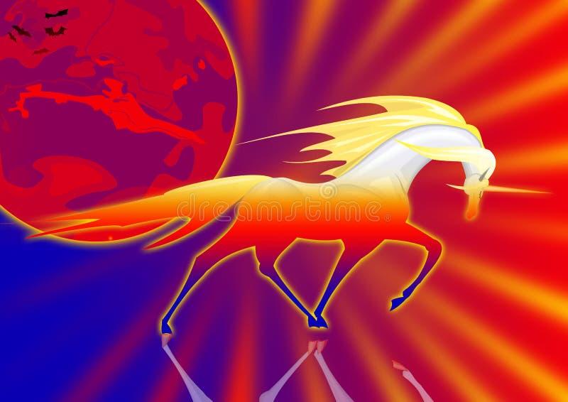 solnedgångunicorn stock illustrationer