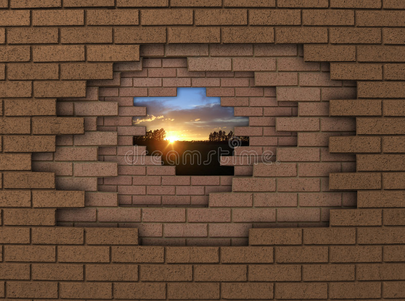 solnedgångvägg royaltyfri fotografi