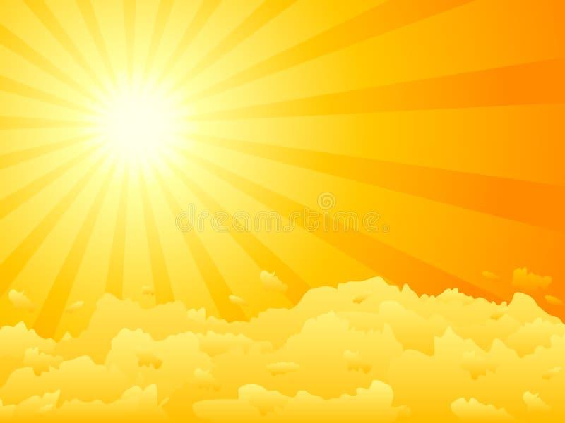 solnedgångvektor stock illustrationer