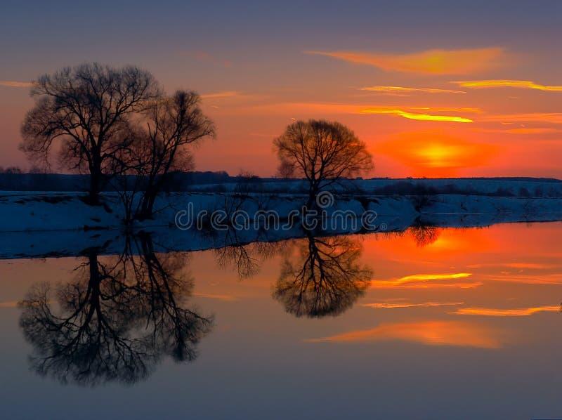 solnedgångvinter fotografering för bildbyråer
