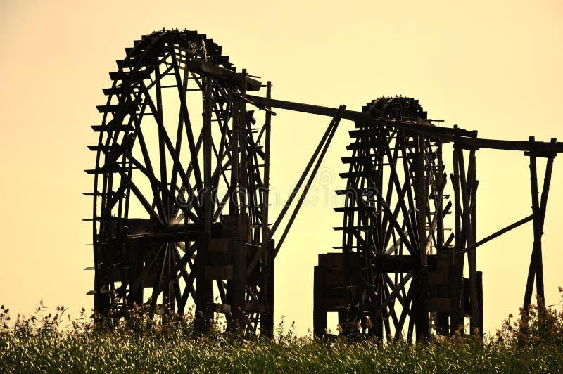 Solnedgångwatermill Fotografering för Bildbyråer