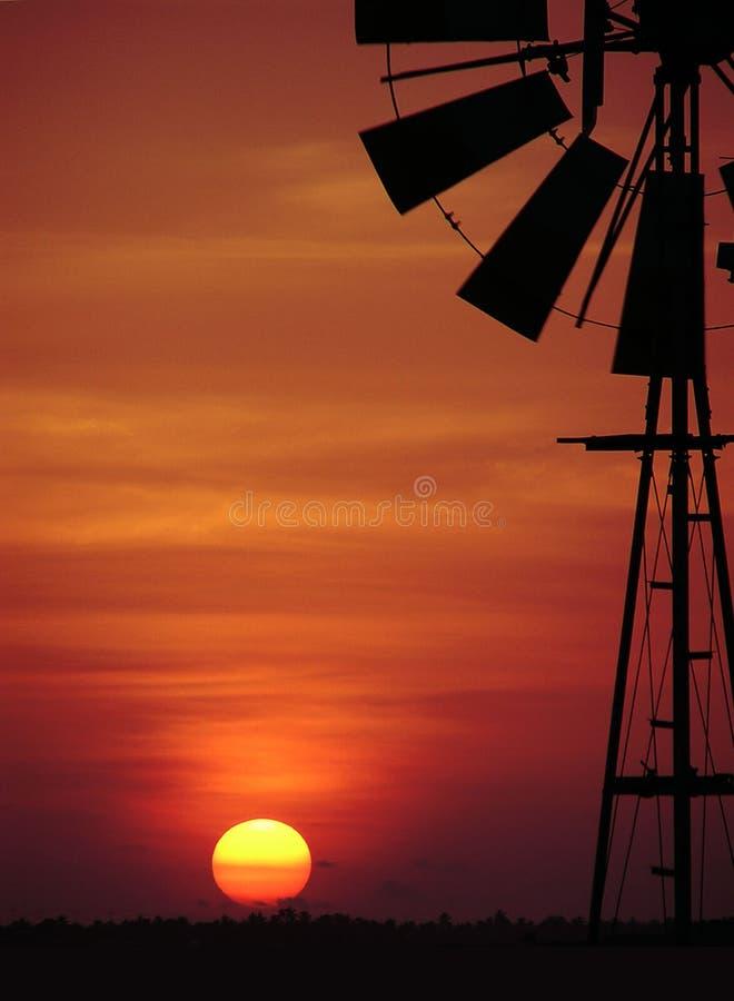 solnedgångwindmill royaltyfri foto