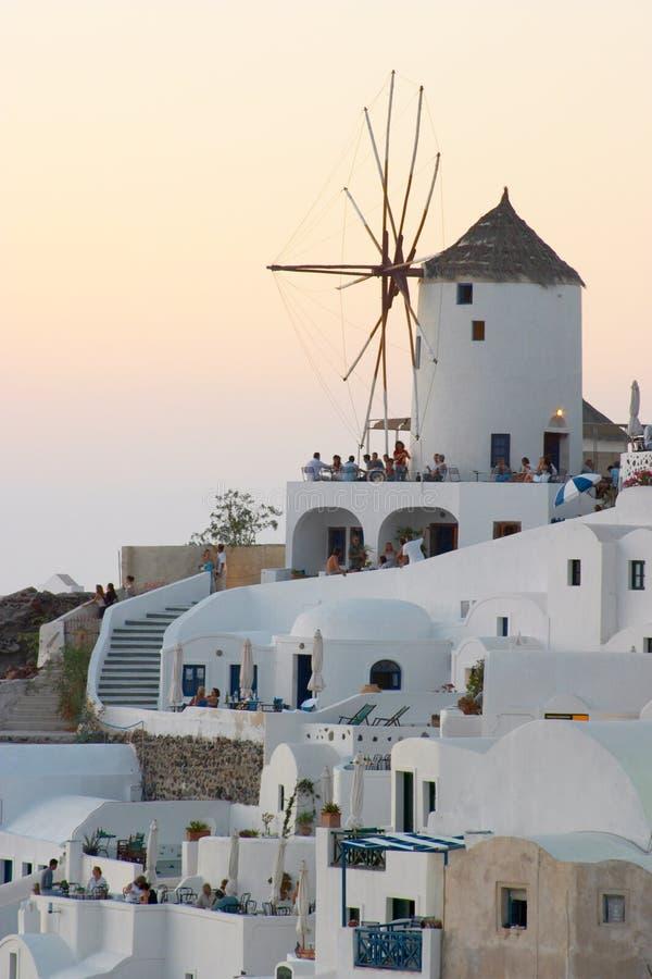 Download Solnedgångwindmill arkivfoto. Bild av turist, greece, solnedgång - 500164