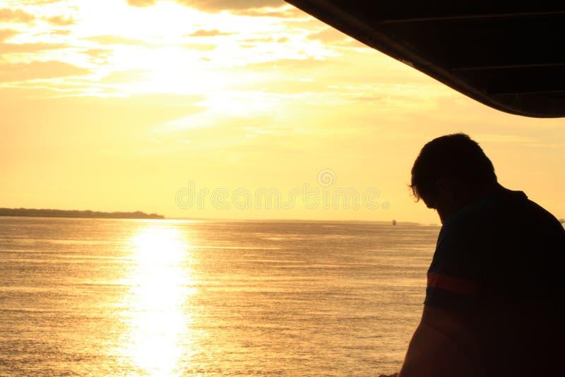 Solnedg?ng p? amasonen fotografering för bildbyråer