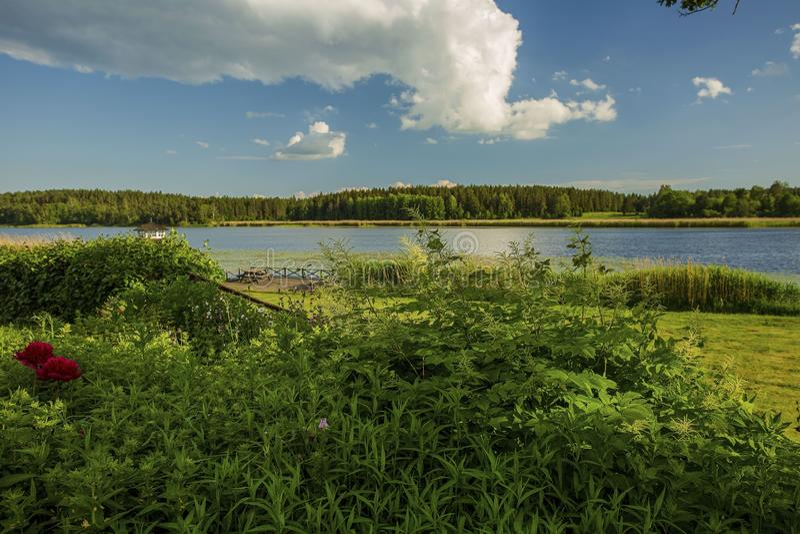 Solnedg?ng p? sj?n i Sverige Härlig sikt för spegelvattenyttersida Den gr?na naturen f?rgar och bl? himmel med vita moln fotografering för bildbyråer