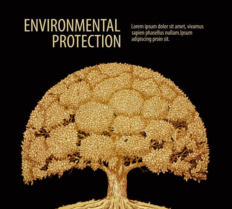 Solo árbol del vintage con follaje denso Naturaleza o ecología de la bandera de la plantilla del diseño del vector libre illustration