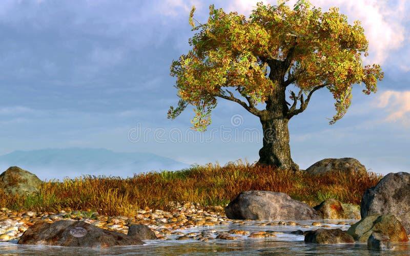 Solo árbol por una corriente ilustración del vector