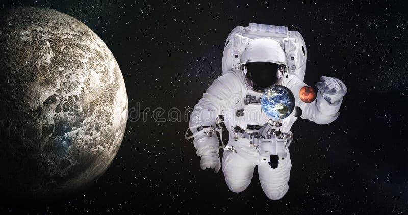 Solo astronauta en espacio exterior ilustración del vector