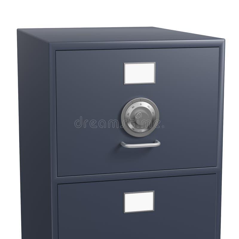 Solo cabinete de archivo bloqueado con el dial seguro del bloqueo stock de ilustración