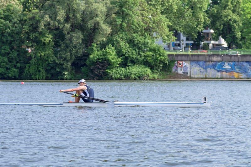 Solo competidor del rowing del scull en el río Neckar durante la regata 2018 de Heidelberg de las regatas imagen de archivo libre de regalías