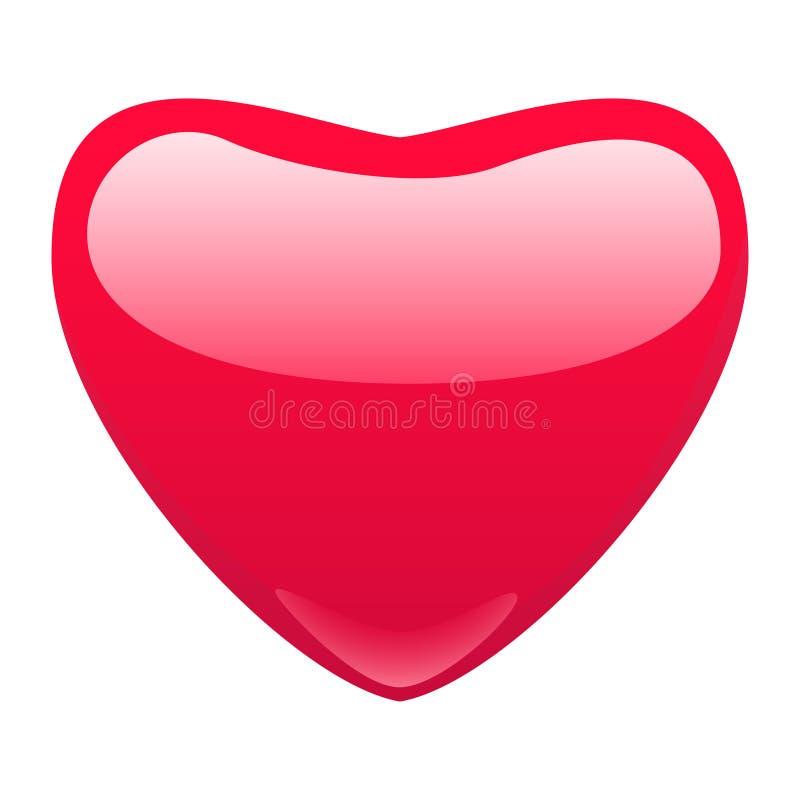 Solo corazón rojo en el fondo blanco ilustración del vector