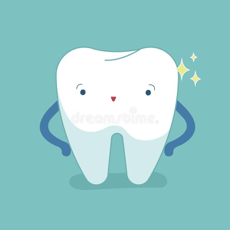 Solo diente blanco, diente sano, higiene oral, vector moderno stock de ilustración